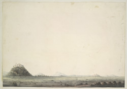 Three fortified villages on hill-tops dotted over a level cultivated plain, probably in Jalaun District..